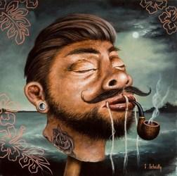 """Scott Scheidly - Shrunken Hipster HeadAcrylic, 9.75x9.75"""", (13.75x13.75"""" framed), $800"""