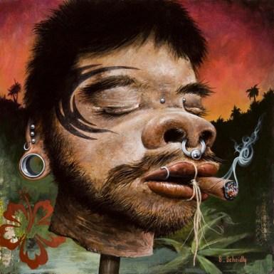"Scott Scheidly - Shrunken Modern Primitive HeadAcrylic, 9.75x9.75"", (13.75x13.75"" framed), $800"