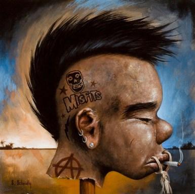 """Scott Scheidly - Shrunken Punk Rocker HeadAcrylic, 9.75x9.75"""", (13.75x13.75"""" framed), $800"""