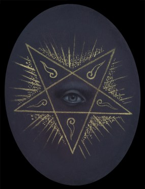 Jasmine Worth - Flames of the Pentagram,oil on board, 3.5x3.5 in. $350 Sold