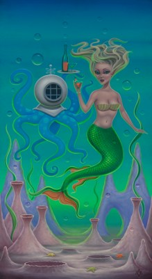 Aaron Marshall - Mermaid and Octopus Acrylic on canvas, 12.75x23.7 in. $1800
