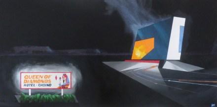 "Michael Murphy - Queen of Diamonds. acrylic on canvas, 12x24"", $1000"