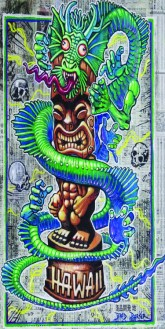 "Brad ""Tiki Shark"" Parker - Fink Dragon VS Souvenir Tiki (Velour Giclée)velour giclée, signed+ltd. 1/50 30x60 in. $50 each"