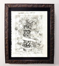 "Brad ""Tiki Shark"" Parker - Fink Dragon VS Souvenir Tiki (concept drawing)pencil on paper, framed 13x16 in.$375 Sold"