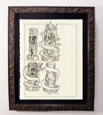 "Brad ""Tiki Shark"" Parker - Fink Dragon VS Souvenir TIKI - Figurine Concept drawingpencil on paper, framed 13x16 in.$375"