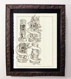 "Brad ""Tiki Shark"" Parker - Fink Dragon VS Souvenir TIKI - Figurine Concept drawingpencil on paper, framed 13x16 in.$375"