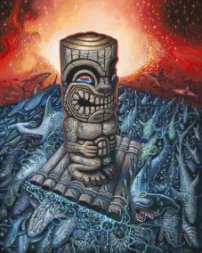 "Brad ""Tiki Shark"" Parker - Kon Tiki Dream IIAcrylic on canvas, 38x48 in. $3750"
