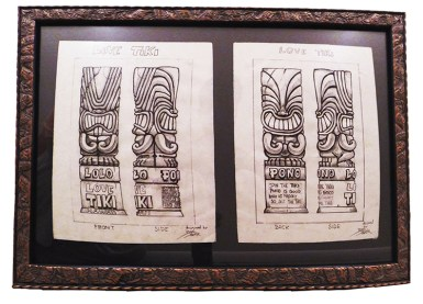 "Brad ""Tiki Shark"" Parker - Love Tiki (2 drawings)pencil on paper, framed 23x16 in.$750 Sold"