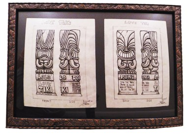 "Brad ""Tiki Shark"" Parker - Love Tiki (2 drawings)pencil on paper, framed 23x16 in.$750 Sold"
