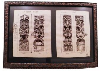 "Brad ""Tiki Shark"" Parker - Lucky Tiki (2 drawings)pencil on paper, framed 23x16 in.$750"
