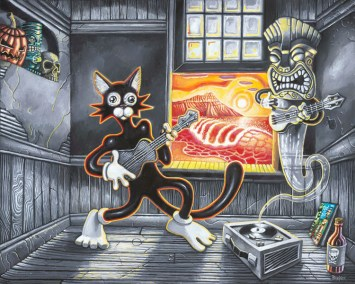 """Brad """"Tiki Shark"""" Parker - Scaredy Cat Meets the Ghost of Exotica (painting)Acrylic on canvas, 30x24 in. Sold"""