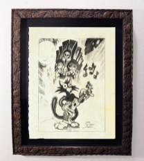 "Brad ""Tiki Shark"" Parker - Scaredy Cat Whistles in the Dark (drawing)pencil on paper, framed 13x16 in.$375"