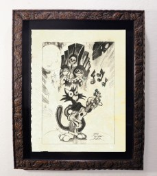 """Brad """"Tiki Shark"""" Parker - Scaredy Cat Whistles in the Dark (drawing)pencil on paper, framed 13x16 in.$375"""