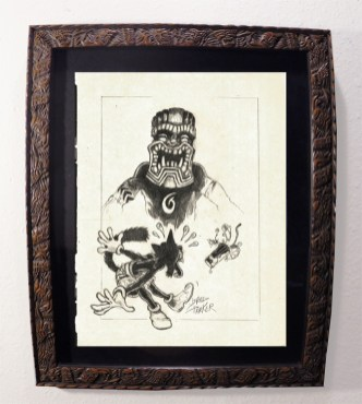 "Brad ""Tiki Shark"" Parker - Scaredy Cat & Mr. TIKI (drawing)pencil on paper, framed 13x16 in.$375"