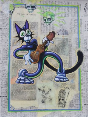 "Brad ""Tiki Shark"" Parker - Scaredy CatAcrylic on newspaper, framed 16x21 in. Sold"