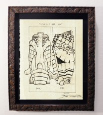 "Brad ""Tiki Shark"" Parker - Spear-Fisher Tiki-Mug Back (drawing)pencil on paper, framed 13x16 in.$375"