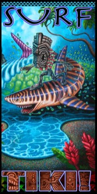 "Brad ""Tiki Shark"" Parker - Tiger Shark Surfing (Velour Giclée)velour giclée, signed+ltd. 1/50 30x60 in. $50 each"