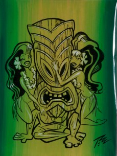Pizz - Tiki Love Acrylic, ink on canvas paper, 9x12 in. $500 Sold