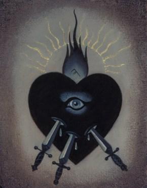 Jasmine Worth - Sacred Heart III: Swords,oil on board, 3.5x3 in. $295 Sold