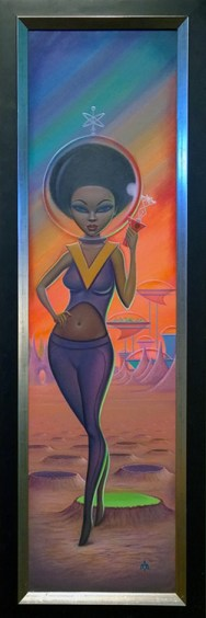 Aaron Marshall - Afro Astro Girl Acrylic on canvas, 11.5x45.5 in. (plus frame) $2000