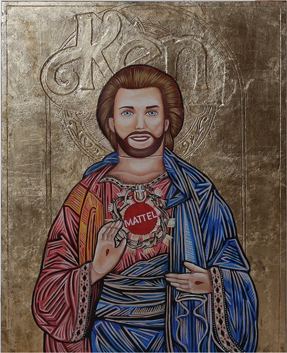 "Ken Bizantine Icon, Gold leaf, oil, acrylic on wood & plaster. 22x17"" $800 Sold"