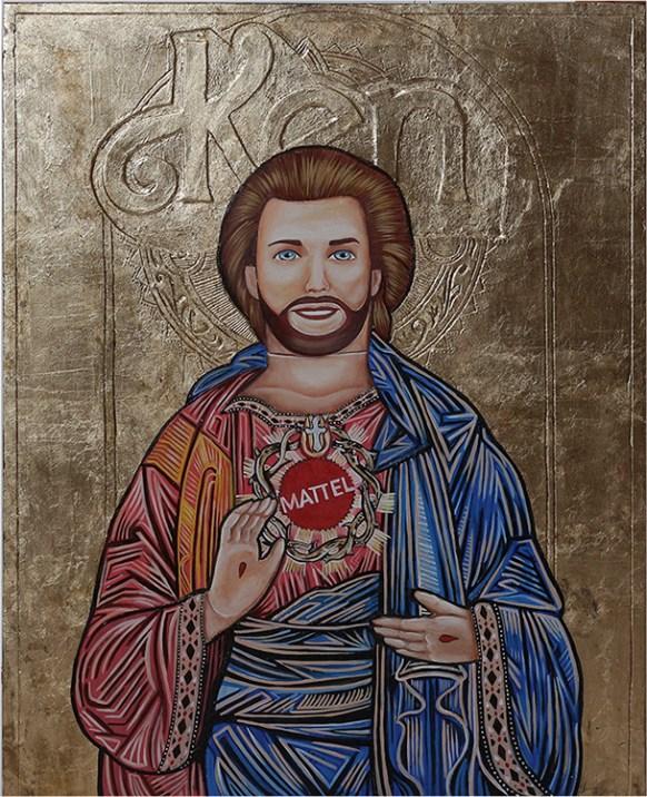 "Ken Bizantine Icon, Gold leaf, oil, acrylic on wood & plaster. 22x17"" $800 Sold"