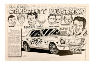 Tom (Fox) Marnick - All Star Celebrity Mustang Ink on Paper, 30 x 20 in.