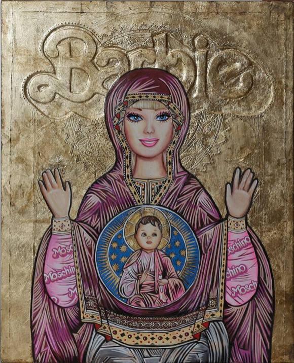 Barbie Bizantine Icon 70 cm x 50 cm Gold Leaf, oil, acrylic on wood $800 Sold