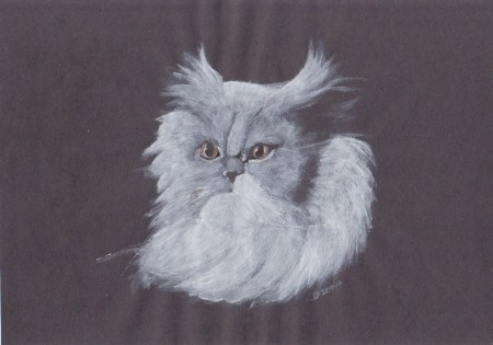 Painting of a white cat on a black background