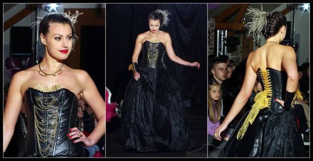 Robe de mariée originale Brest corset cuir noir