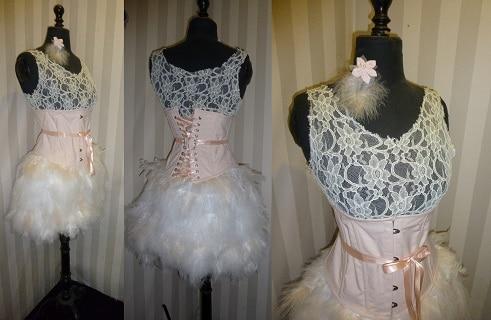 Robe mariée créée à Brest plumes nude dentelle