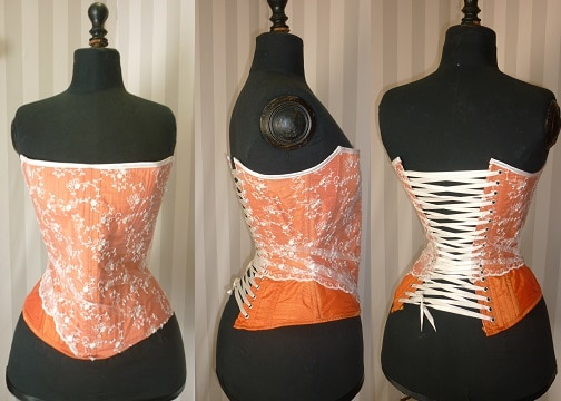 Corsets à vendre - Corset pigeonnant Taffetas orange, tulle rebrodée ivoire T 36/38/40 - Bonnet A,B ou C 150 €