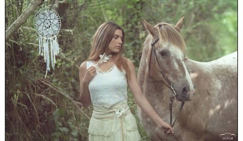 robe de mariée soie, dentelle, cheval, attrape rêves