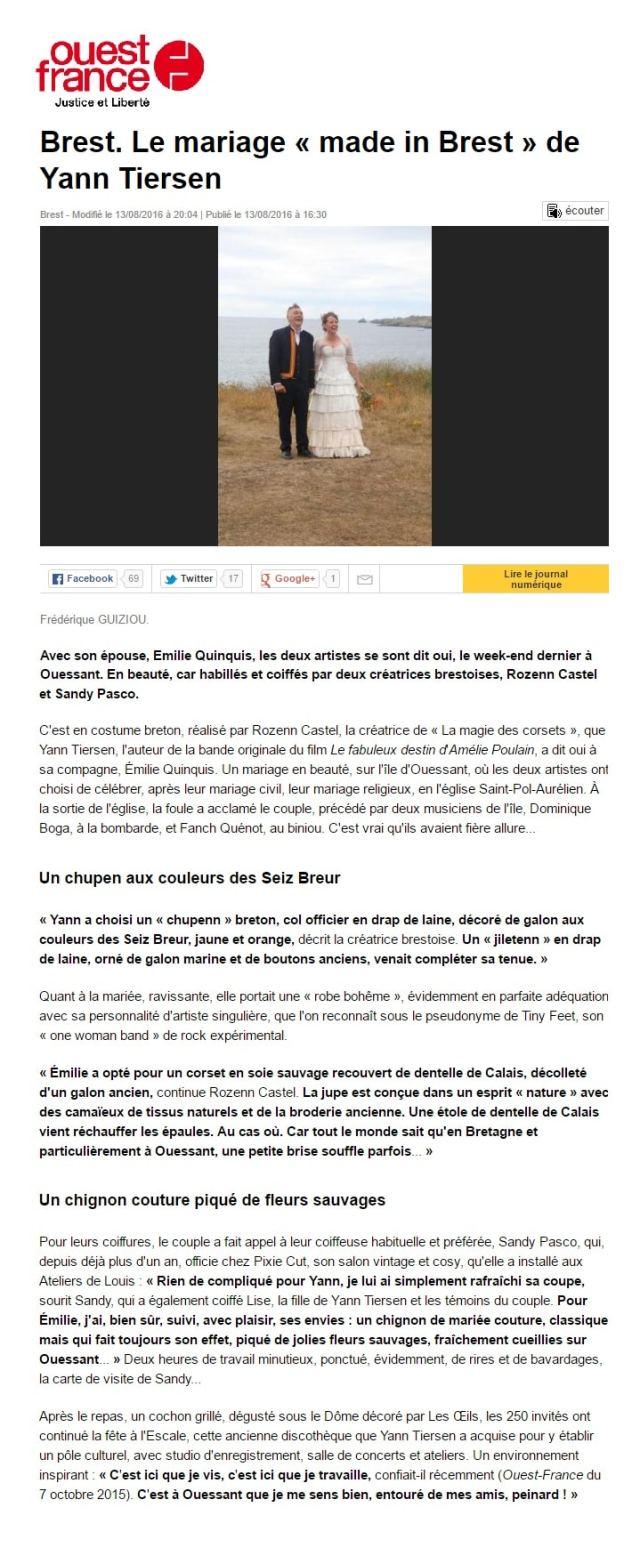 Article du Ouest France Yann Tiersen robe de mariée Brest La Magie des corsets