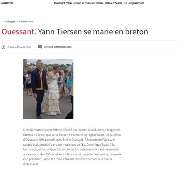 Telegramme 5 08 16 Mariage de YannTiersen