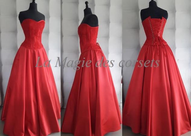 robe de mariée satin duchesse rouge
