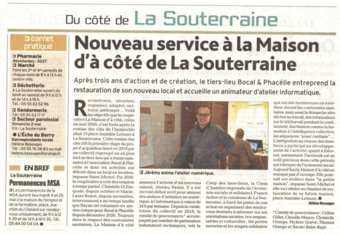 """Article """"nouveau service à la Maison d'à Côté"""""""
