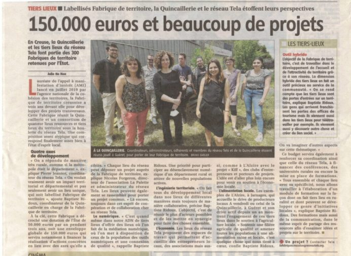 """Article """"150.000 euros et beaucoup de projets"""