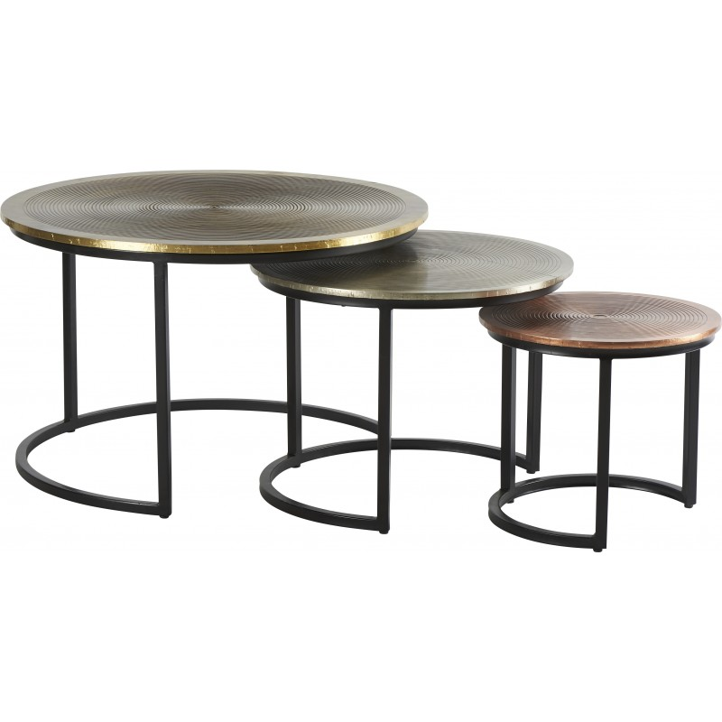 SET DE 3 TABLES METAL