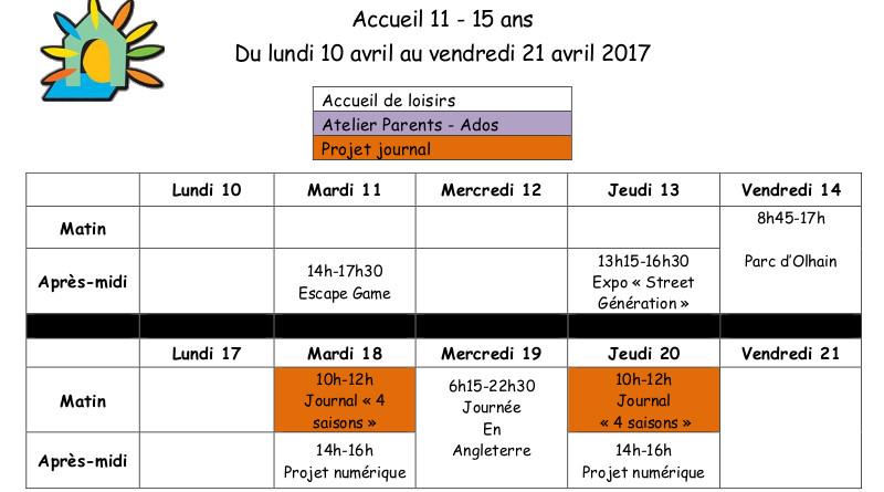 Programme ALSH 11/15 ans Vacances de Printemps 2017