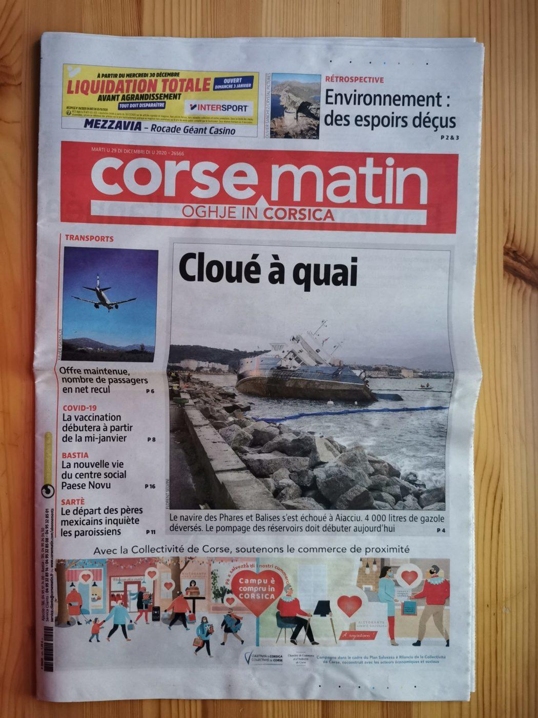 Couverture du Corse matin N° 25566 du 29 décembre 2020