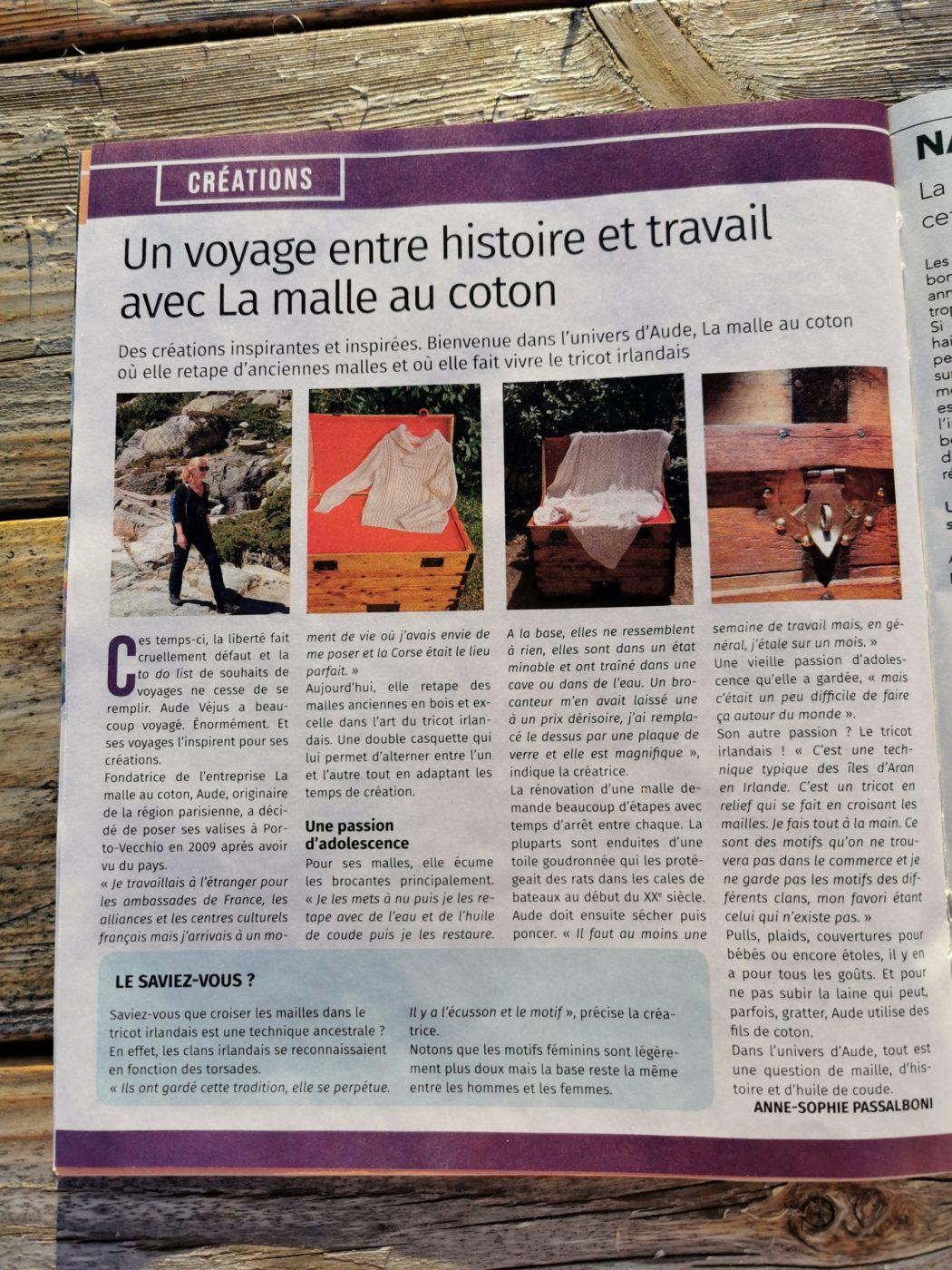 Article de presse La Malle au Coton du Version Femina