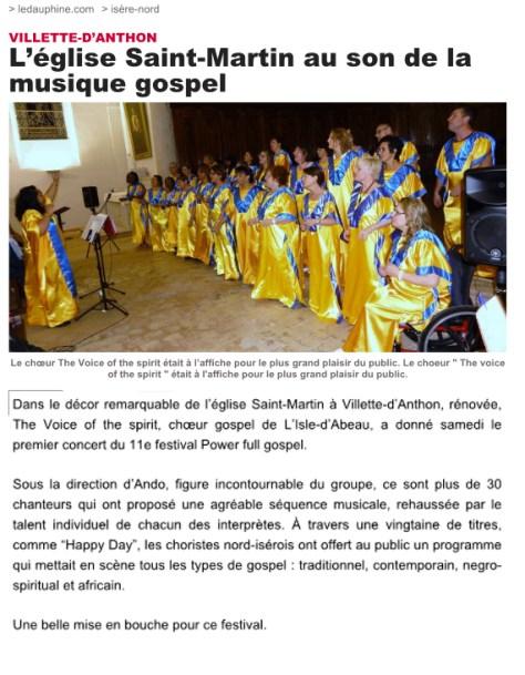 Article du Dauphiné Libéré - Le 11/05/2017