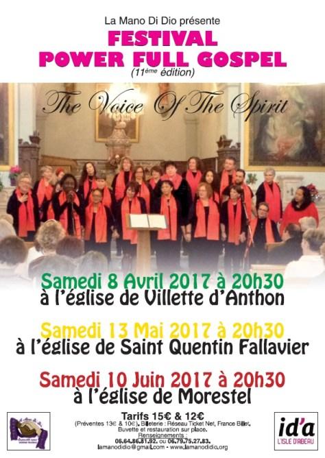 Festival Power full gospel les samedi 8 avril, 13 mai et 10 juin 2017