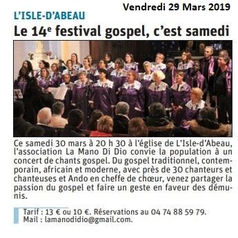 Le Dauphiné Libéré - Article du 29/03/2019