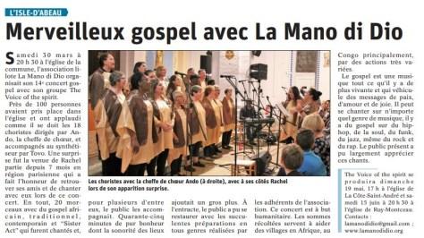 Le Dauphiné Libéré - Article du 01/04/2019