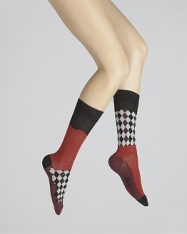 chaussettes femme damier asymétrique