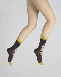 chaussettes visage d'une femme laine peignée Berthe aux grands pieds