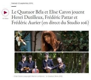Podcast - France Musique - Quatuor Bela et Elise caron