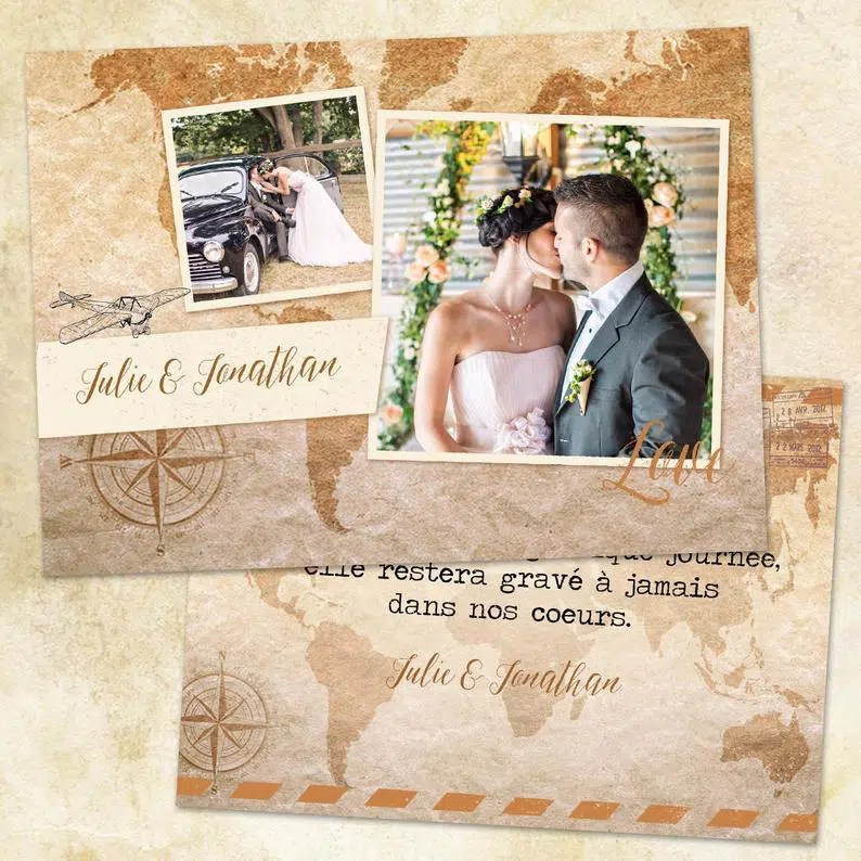 papeterie mariage thème voyages